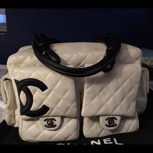 Handbags - Black and white hand bag and kitten boots
